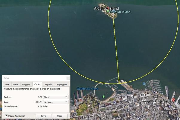 distance to alcataz one mile