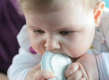 baby chewing eva shoe
