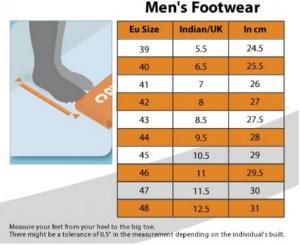 mens footwear sizes europe