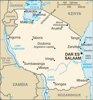 Map of Tanzania - Mt. Kilimanjaro
