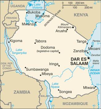 Map of Tanzania - Mt. Kilimanjaro